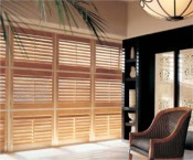 slatted wood shades